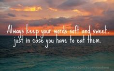 Always keep your words soft and sweet, just in case you have to eat them. - Pixteller-create your own quotation boards