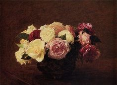 """Artist Henri Fantin-Latour (1894) Private Collection.  In Laura Cumming's article """"The Ten Best Flower Paintings In Pictures,"""" she writes the following.  """"Fantin -Latour is the great rose man. He painted roses from first to last, never tiring of their beauty. There is even a shrub rose named after him and it is (I think) right there at the centre of this bowl full of heavy, drowsy, scented blooms, in many shapes, colours and petal forms. Fantin-Latour is praised in Proust and sold almost…"""