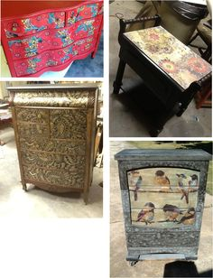 Tutorial /DIY Furniture pieces with images transferred on from regular paper using Modge podge. Very cool
