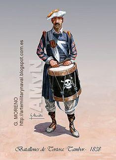 Carlists; Infantry Battalion Tortosa, Drummer,1838. War Drums, German Uniforms, Illustrations, World History, Military History, Warfare, 19th Century, Knight, Battle