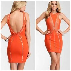 🎉HP🎉Bebe Addiction Orange Studded Dress! Only worn once! In great condition! This dress is hot hot hot!! 🔥 Its a little too big on me as you can see. The size says large but best for a medium in my opinion ❌Trades ❌Paypal bebe Dresses