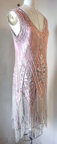 1920's Pink and Silver Charleston beaded Flapper Dress