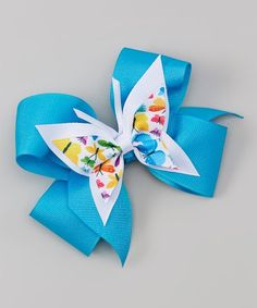 Picture Perfect Hair Bows Blue Bow Clip & Butterfly | zulily