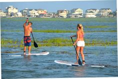 Paddle boarding at Murrells Inlet, SC High Tide!