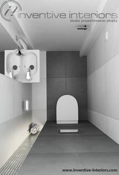 Projekt wc Inventive Interiors - mała łazienka biało-szara ze srebrną mozaiką