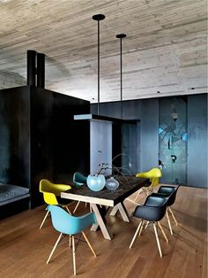 Interior Decorate Tips Why not mix and match colourful DAW Eames dining chairs, shown here in mustard, ocean and basic dark. Colored Dining Chairs, Table And Chairs, Room Chairs, Office Chairs, Plastic Dining Chairs, Swing Chairs, Lounge Chairs, Chair Design, Furniture Design