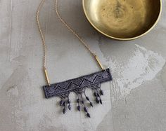 fringe necklace // MARLO // geometric necklace / gray necklace / statement necklace // modern lace, boho necklace / festival necklace