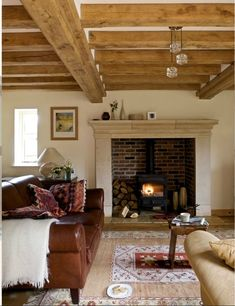 Love this inglenook fireplace with wood stove inside. Living Room Designs, Living Room Decor, Cottage Living Rooms, Border Oak, Oak Frame House, Farmhouse Fireplace, Rustic Farmhouse, French Farmhouse, Farmhouse Design