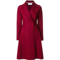 Harris Wharf London double breasted coat ($600) ❤ liked on Polyvore featuring outerwear, coats, red, harris wharf london, double-breasted coat, purple coat, red double breasted coat and red coat