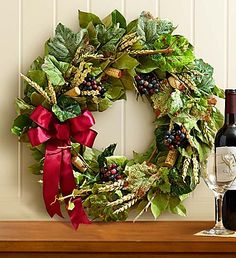 Preserved Vineyard Wine Cork Wreath - 18