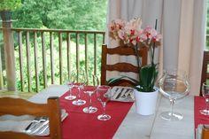 Table du restaurant fleurie