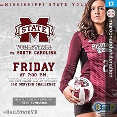 @maroonandwhitenation---Don't forget to come out Friday night and support @HailStateVB as they take on South Carolina @ 7:00pm in Newell-Grissom!!! FREE ADMISSION!!!!! #MaroonandWhiteNation #HailState #Fight4MSU #MSU #Bulldogs #CowbellYell #MississippiState #MSUBulldogs #MississippiStateBulldogs #MississippiStateUniversity #MSState #TrueMaroon #ThisIsOurState #WeBleedMaroon #ForeverMaroonandWhite #MaroonandWhite #GoDawgs