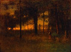 George Inness (American, Sunset in Georgia, 1890 Oil on canvas board 18 x 24 in. x cm) Layton Art Collection, Gift of Frederick Layton Photo credit John R. Cool Landscapes, Beautiful Landscapes, Landscape Art, Landscape Paintings, Oil Paintings, Milwaukee Art Museum, Hudson River School, Haitian Art, American Artists
