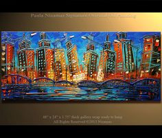 ORIGINAL Downtown Painting Modern Oil Palette Knife by Artcoast, $420.00