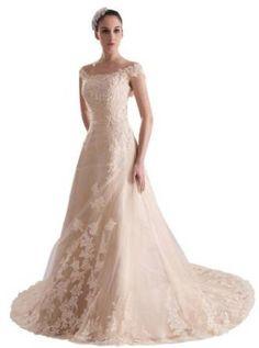 GEORGE BRIDE Women's Off-Shoulder Slim Fit Formal Wedding Dress
