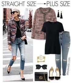 Straight Size to Plus Size – Textured Jacket - Plus Size Fashion for Women - alexawebb.com #alexawebb
