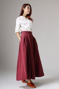 This is a long skirt for woman. Red linen skirt maxi skirt. There are two pockets on each side, there is a zipper in the right side. * Made from