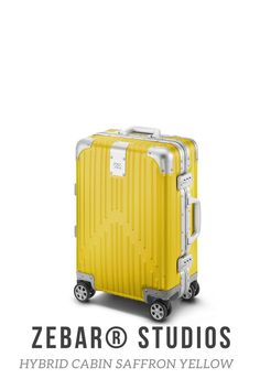 The ZEBAR Hybrid Cabin in SAFFRON YELLOW skilfully combines two of the most advanced materials in the world - the resilience of our unique aluminum magnesium alloy with the outstandingly light quality of polycarbonate - to an outstanding product of German construction, which is ideal as a lifelong travel companion. The hand luggage case developed in Germany fits in the overhead lockers of most airlines and is perfect for business trips or weekend trips. Luggage Case, Hand Luggage, Cabin Suitcase, Studios, Cabin Design, Berlin Germany, Weekend Trips, Business Travel, Yellow