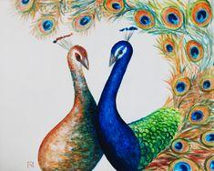 Painting «Peacock Couple» by Nadine Lière, Acrylic on canvas board, 50 x 40 cm, 2016, grenadine-art.eu
