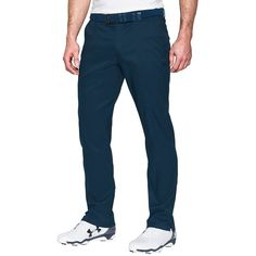Under Armour UA Match Play Textured Golf Pants (290 BRL) ❤ liked on Polyvore featuring men's fashion, men's clothing, men's pants, academy, mens zip off pants, mens zipper pants, men's 5 pocket pants, under armour mens pants and mens flat front dress pants