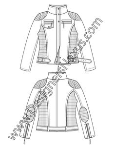 V5 Jacket Flat Sketch: Moto Jacket with Funnel Collar and Quilting Panels