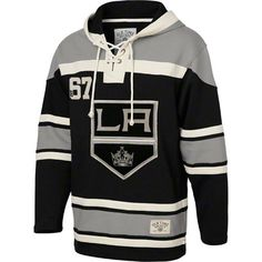 Los Angeles Kings Black Old Time Hockey Lace Up Jersey Hooded Sweatshirt
