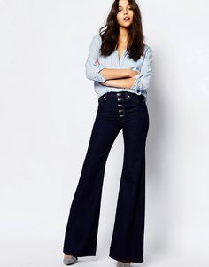 Image 4 of7 For All Mankind Retro Flares With Exposed Buttons