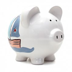 Sail into savings with the Personalized Nautical Piggy Bank. A little sailor will love this relaxing design! Perfect for a nursery, baby shower, birthday and every occasion in between.