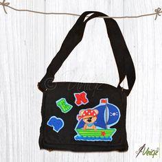 Kindergartentasche mit Namen und fröhlichem Piratenbärmotiv