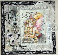 Annes lille hobbykrok: Sweet Pea, Girl card,  Distress Ink