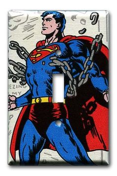 Superman Man of Steel 1970's Vintage Wallpaper Switch by Fondue,