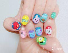 Cute Nail Designs For Spring – Your Beautiful Nails K Pop Nails, Cute Nails, Pretty Nails, Hair And Nails, Gel Nails, Korean Nail Art, Korean Nails, Army Nails, Theme Bts