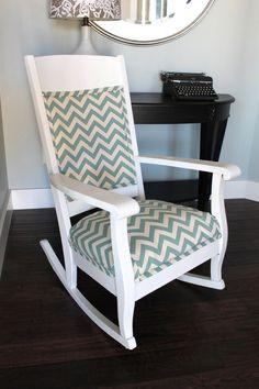 Chevron Print White Rocking Chair