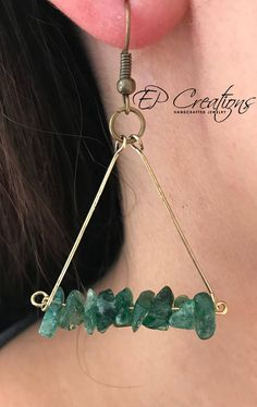 Antique brass triangle shaped earrings with stone chips. Unique and delicate antique brass wire earrings, triangle shaped with stone chips. Earrings are designed to accessorize your special occasion wardrobe as well as your daily outfit. Variations: 1. Green stone chips with antique
