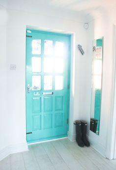 Turquoise aqua front door.i love this!!