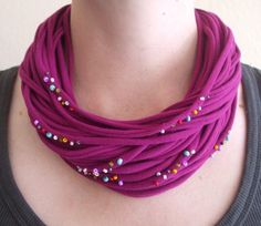Magenta Necklace with Rainbow Beading via Etsy