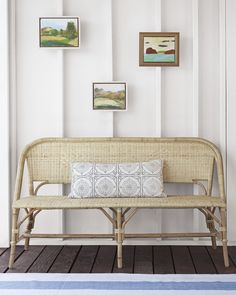Our beloved Riviera Chair, reimagined as a gorgeous bench in a versatile all-natural shade. Crafted with a rattan frame and woven rattan seats, it's great for the kitchen or the patio | Riviera Bench in Natural via Serena & Lily