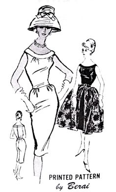 Late 50s Sizzling Sheath Dress and Overskirt Pattern Cocktail Party Evening Dress Full Skirt Belts On Prominent Designer M308 Vintage Sewing Pattern Bust 36 FACTORY FOLDED