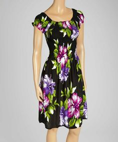 Love this Black & Purple Hawaiian Floral Cap Sleeve Dress - Women on #zulily! #zulilyfinds