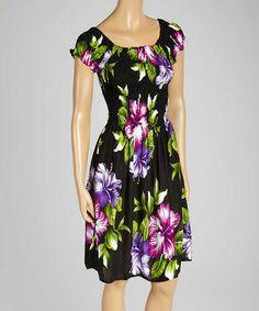 Love this Black & Purple Hawaiian Floral Cap Sleeve Dress - Women on #zulily! #zulilyfinds