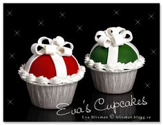 Cute cupcakes - Christmas colours and iced like gifts :) Christmas Cupcakes, Christmas Treats, Christmas Baking, Bow Cupcakes, Fancy Cupcakes, Holiday Snacks, Holiday Cakes, Cupcake Wars, Christmas Entertaining