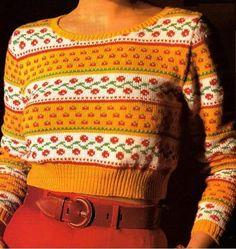 Des couleurs vives et un joli jacquard pour ce petit pull à tricoter. Tailles : 38/40 - 42/44 Aiguilles N° 3 et 3,5 Le pull à côtes et torsades La marinière en dentelle Le petit pull aux bretelles