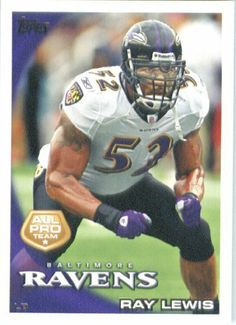 2010 Topps NFL Football Card #25 Ray Lewis AP - Baltimore Ravens (All Pro) NFL Trading Card by Topps. $1.89. 2010 Topps NFL Football Card #25 Ray Lewis AP - Baltimore Ravens (All Pro) NFL Trading Card