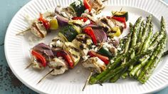 Grilled Mediterranean Chicken and Veggie Kabobs: Fun and tasty! A rosemary-lemon marinade gives these grilled kabobs loads of flavor. Kabob Recipes, Grilling Recipes, Cooking Recipes, Healthy Recipes, Grilling Ideas, Barbecue Recipes, Skinny Recipes, Healthy Meals, Meals