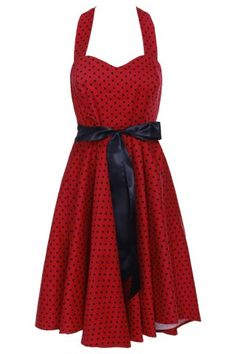 Vintage Style Halter Neck Sleeveless Polka Dot Self Tie Belt Backless Dress For Women Vintage Dresses | RoseGal.com Mobile