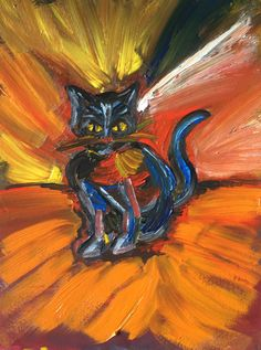 The cat. Oil on paper #paintings #oilpaintings #contemporaryart #art #cats #artgallery #colors #painters #artist