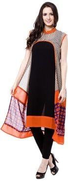vivaa orange printed pure georgette chinese collar sleeveless kurti