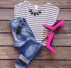 Jeans and stripe shirt with pink heels to give some pop.opt for pink flats Pink Heels Outfit, Heels Outfits, Cool Outfits, Casual Outfits, Hot Pink Shirt Outfit, Look Fashion, Girl Fashion, Fashion Outfits, Womens Fashion