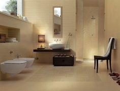 bad design wellness ambiente fliesen gelblich beige begehbare dusche