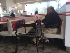 """""""I saw this elderly gentleman dining by himself, with an old picture of a lady in front of him. I though maybe I could brighten his day by talking to him.As I had assumed, she was his wife. But I didn't expect such an interesting story. They met when they were both 17.They dated briefly, then lost contact when he went to war and her family moved. But he said he thought about her the entire war. After his return, he decided to look for her ..."""